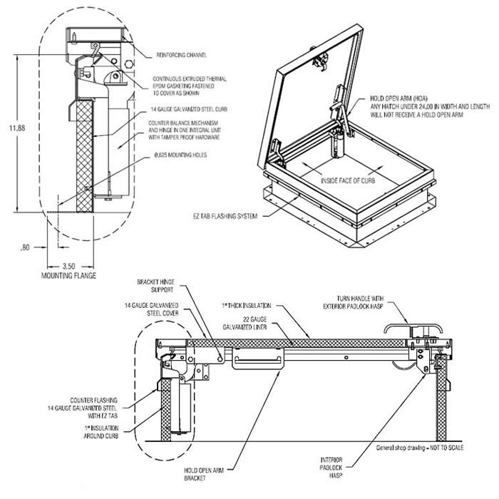 cad drawing steel roof hatch