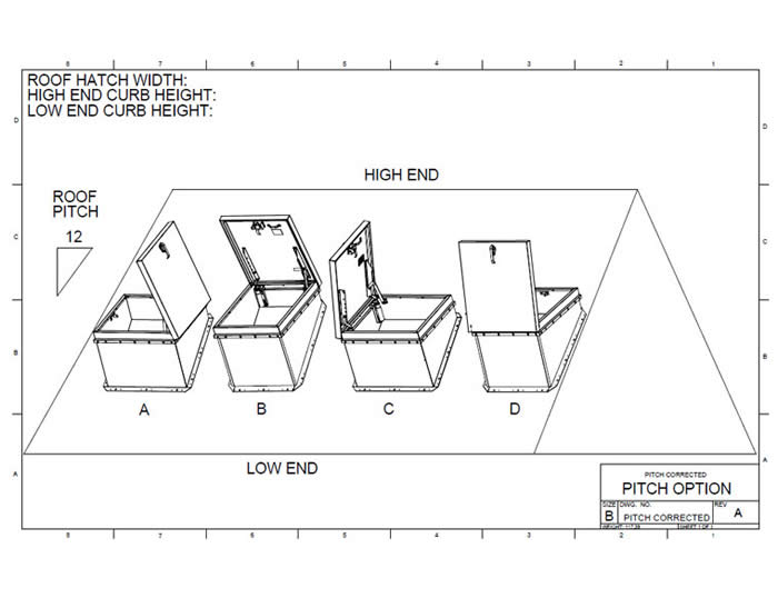technical diagram of roof hatch for a pitched roof